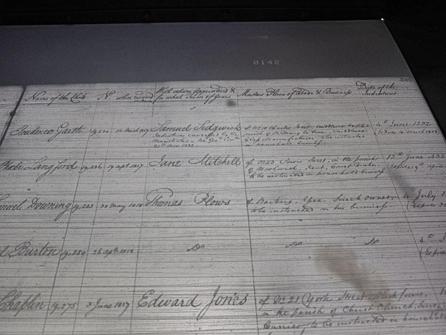 Photo F: photo of indenture register